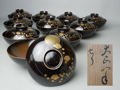 JAPANESE C1919 ANTIQUE 10pcs SOUP BOWL W/ LID WAJIMA NURI LACQUERED WOOD MOON NR