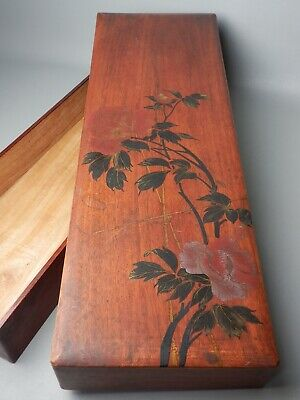 Japanese C1910- Antique Kimono Storage Wood Box Hand Painted Makie Peony Flower