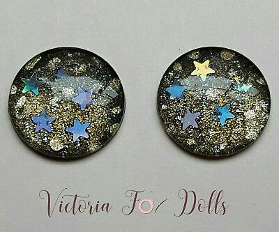 Blythe Doll Metallic Glitter Gold Black Gradient Holographic Star Eyechips 14mm