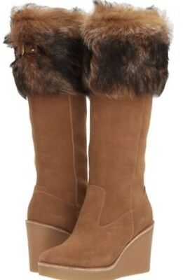 bf82a54c4b4 UGG VALBERG TOSCANA Chestnut Brown Suede Fur Cuff Wedge Tall Boot NWOB 7