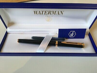 VINTAGE WATERMAN'S IDEAL MAN 200 FOUNTAIN PEN, BLACK, 18 ct GOLD F/B NIB, BOXED