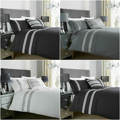 Glitz Black/White/Grey Printed Poly Cotton Duvet Quilt Cover Bedding Sets