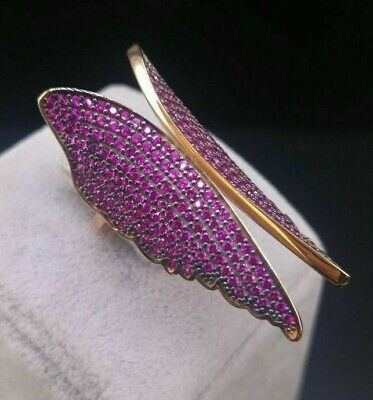 Sterling 925 Silver & Rose Gold Jewelry Micro-Pave Ruby Angel Wings Lady Ring