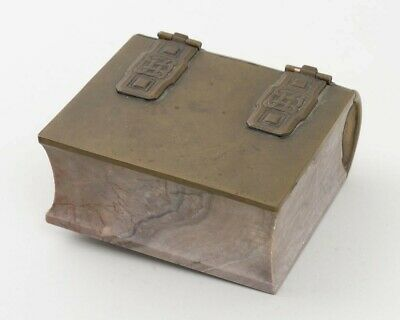 """Antique Brass & Marble Stone Book Shaped Box Celtic Knot Design 4.5"""" x 5"""""""