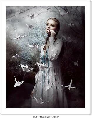 Night. Woman In  Mysterious Art Print/Canvas Home Decor Wall Art Poster - K