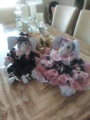 Ellie and Elmer Custom Vintage Elephants. Set of 2. You choose costume color.
