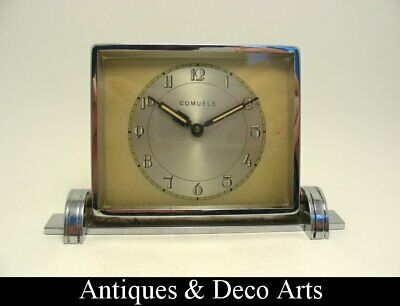 Art Deco Chrome-plated Metal Clock - Time Piece by COMUELE