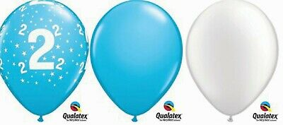 """15 x 11"""" 2nd Birthday Pale Blue White  Latex Party pack table centre piece"""