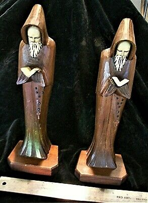 Pair Vintage HAND-CARVED Wood Reading FRIAR Monks Holding Prayer Books BOOKENDS