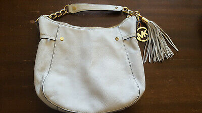 8bc126efe046 MICHAEL KORS OPTIC White Gold Remy Medium Leather Shoulder Tote $298 ...