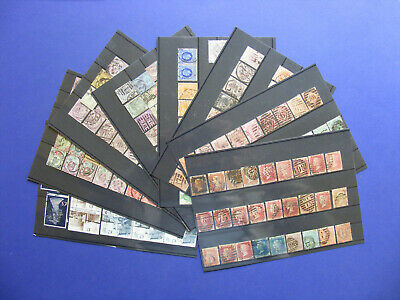 (G63) LOT Great Britain used stamps collection on 8 cards with BLACK PENNY $$$