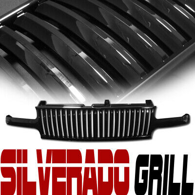 For 99-02 Chevy Silverado/00-06 Tahoe Suburan Black Front Vertical Grill Grille