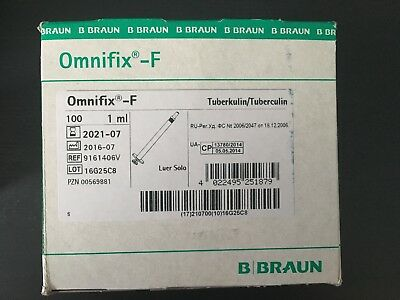 B Braun Omnifix - F  3 Part  1ML Solo Syringes STERILE and LATEX PHT PVC FREE