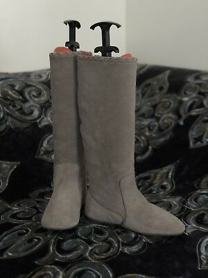 834609c1e988  699+Pedro Garcia Shearling lined Gray suede winter boots round toe flat  36.5US6