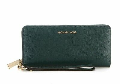 49bbd81fe66a Michael Kors Jet Set Travel Leather Continental Phone Wallet  168 Racing  Green