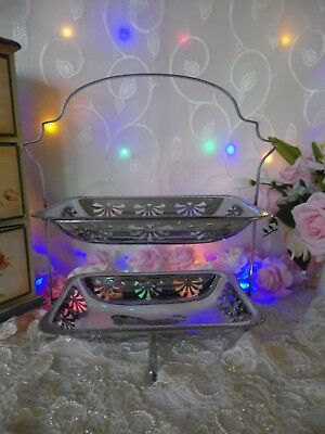 Vintage 1950's Chrome Plated 2 Tier Cake Stand, Good Vintage Condition