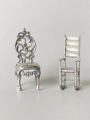 Vintage Sterling Silver Miniature Chairs Figurine Rocking Chair Parlor Chair