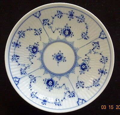 "Royal Copenhagen Denmark Blue Fluted Plain Footed Compote Bowl 7""  c 1950-1984"