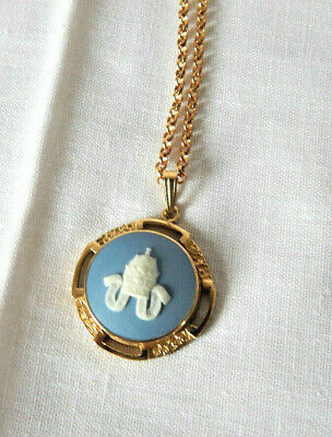 Wedgwood Blue Cameo Pendant Papal Crown Gold Plated Vintage + Chain Bxd