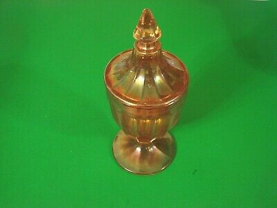Footed Compote Banded with Lid  Amber Color