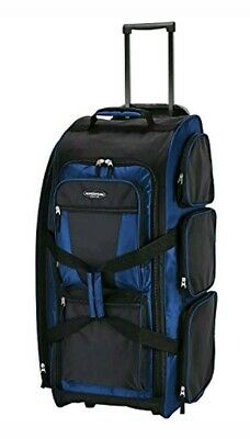"Travelers Club Luggage 30"" Blue Multi-Pocket Rolling Upright Duffel Duffle NEW"