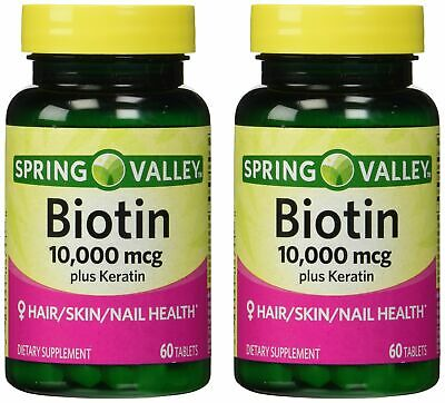 Spring Valley 10000mcg Biotin with 100mg Keratin Dietary Supplement 60 Tablet...