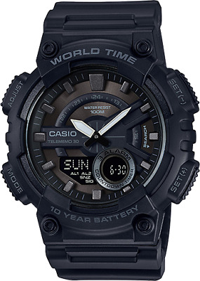 Casio Men's Quartz World Time Ana-Digi Black Resin Band 52mm Watch AEQ110W-1BV