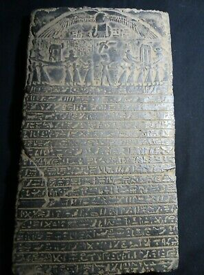 RARE ANTIQUE ANCIENT EGYPTIAN Stela King Ramses Funeral Boat Fly Tour 1279 Bc