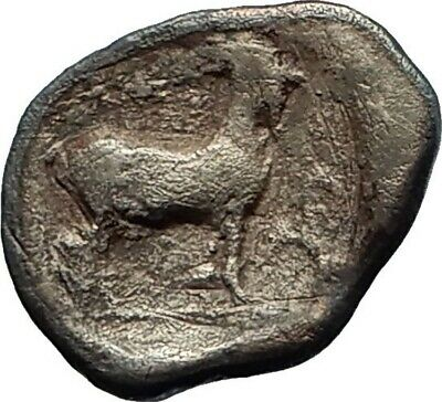 AINOS THRACE 427BC Silver Diobol Hermes Goat Authentic Ancient Greek Coin i76695