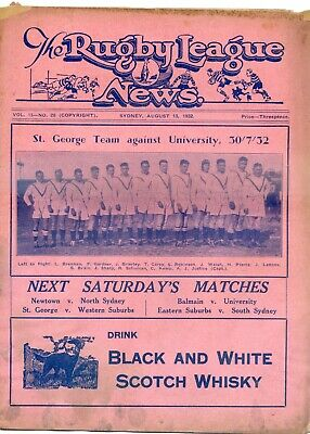 1932 Rugby League News St George Team On Cover