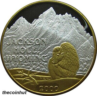 1 oz. .999 Silver 2000 Jackson Hole Wyoming 24 K Gold Coin Northwest Mint CH5141