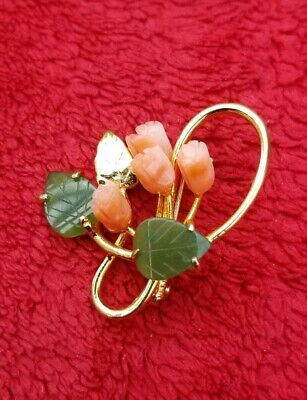Vintage Chinese yellow gold plated angel skin coral &  green jadeite pin brooch