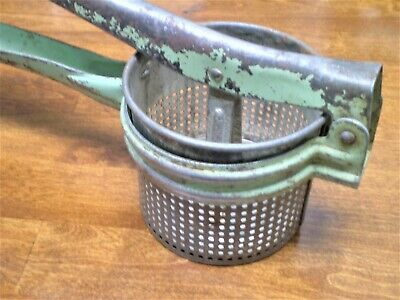 Antique GARLIC PRESS /TOMATO JUICER Green Paint Shabby Rusted Primitive Works