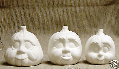 Ceramic Bisque Character Pumpkins Trio Donas Mold 563 U-Paint Ready To Paint