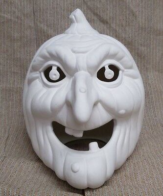 Ceramic Bisque Witch Pumpkin Cut Out Scioto Mold 1725 U-Paint Ready To Paint