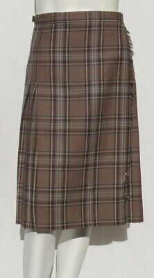 EDINBURGH WOOLEN MILL Taupe Tartan Wool Pleated Wrap Kilt Skirt size 2 4 XS