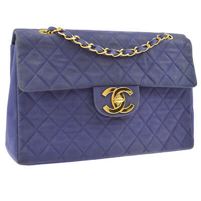 fa43224a8fad Auth CHANEL Quilted CC Jumbo XL Double Chain Shoulder Bag Navy Canvas GHW  V23886