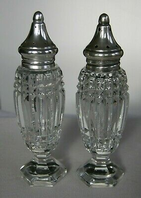Rare Victorian Cut Crystal Footed Pedestal Sterling Silver Salt Pepper Shakers