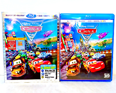 Disney • PIXAR Cars 2 5-Disc Edition 3D + Blu-ray + DVD & Lenticular Slipcover