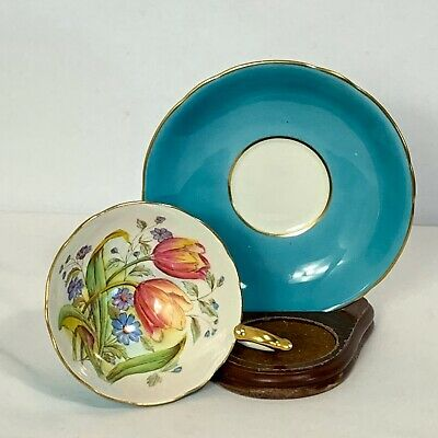 Aynsley Cup & Saucer Aqua Blue Turquoise with Tulip Floral Bouquet England