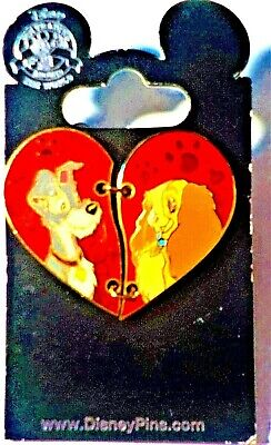 Disney Parks Trading Pin Lady and the Tramp Two Heart Pieces Red Paw Prints