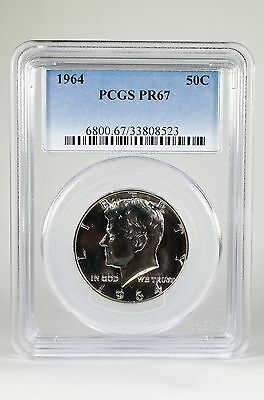 Pr67 1964 Pcgs Graded Kennedy Silver Half Dollar 50C Proof Coin Free Shipping !!