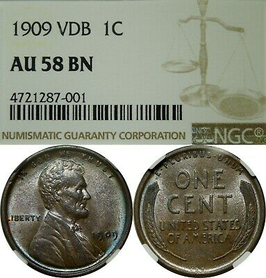1909 VDB 1c Lincoln Wheat Cent NGC AU58 BN brown rare old type coin penny