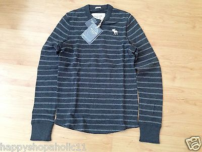 NWT Men's ABERCROMBIE & FITCH Owen Pond Striped Grey Pullover Crew Neck Top M