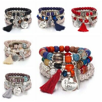 4Pcs I Love You Multilayer Natural Stone Crystal Bangle Beaded Bracelet Jewelry