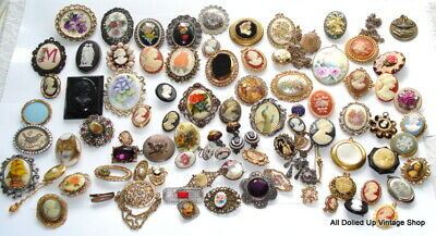 VINTAGE 84 pc ANTIQUE VIC REV JEWELRY LOT ASSORTED STYLES COLORS MATERIALS 925