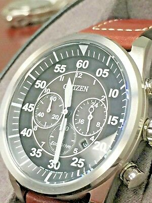 Citizen Eco-Drive Men'S Stainless Steel Leather Avion Watch CA4210-24E