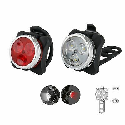 Cycling Bike 3 LED Head Taillight Set Front Tail Warning Light USB Rechargeable