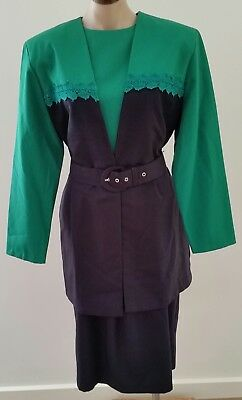 Vintage 80s DOLINA Blue Label BLUE GREEN 3 piece DRESS JACKET BELT SET size 12