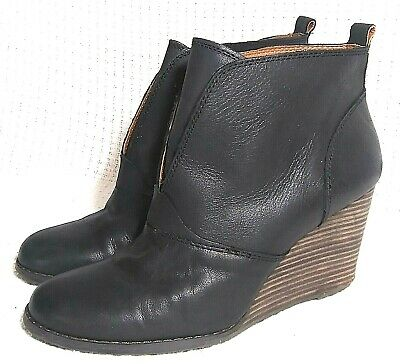 ab45d999933 SZ 10 EU 40 Lucky Brand Yinan Black Pull On Leather Booties Stacked Heel  Wedge